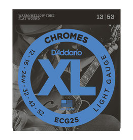 D'Addario NEW D'Addario ECG25 Chromes Flat Wound Electric Strings - Light - .012-.052