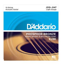D'Addario NEW D'Addario EJ38 Phosphor Bronze 12-String Acoustic Strings - .10-.047