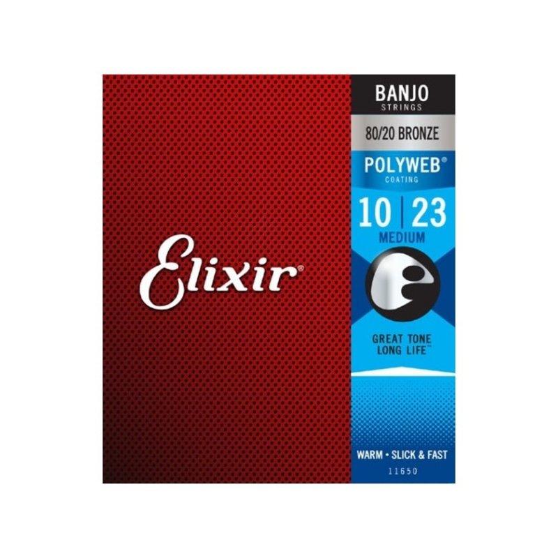 Elixir NEW Elixir Polyweb 80/20 Bronze Banjo Strings - Medium - .010-.023