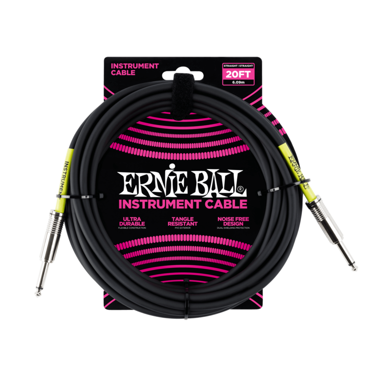 Ernie Ball NEW Ernie Ball Instrument Cable - Straight/Straight - Black - 20'