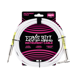 Ernie Ball NEW Ernie Ball Instrument Cable - Straight/Angle - White - 10'