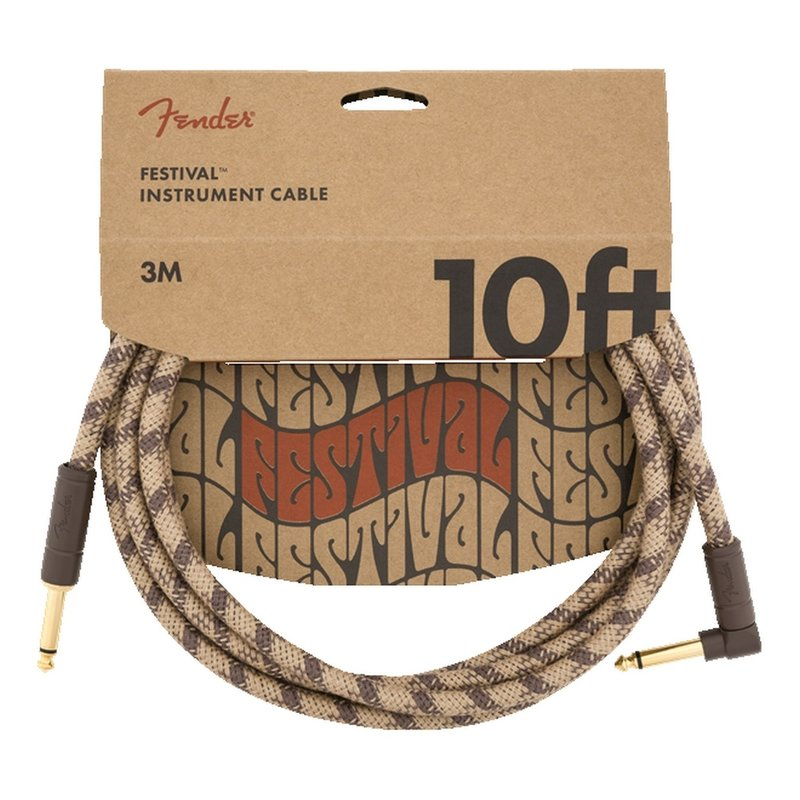 Fender NEW Fender Festival Instrument Cable - Pure Hemp - Brown Stripe - 10'