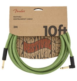 Fender NEW Fender Festival Instrument Cable - Pure Hemp - Green - 10'