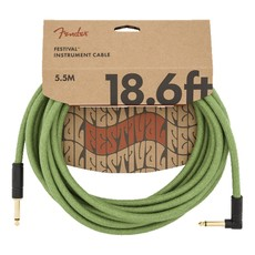Fender NEW Fender Festival Instrument Cable - Pure Hemp - Green - 18.6'