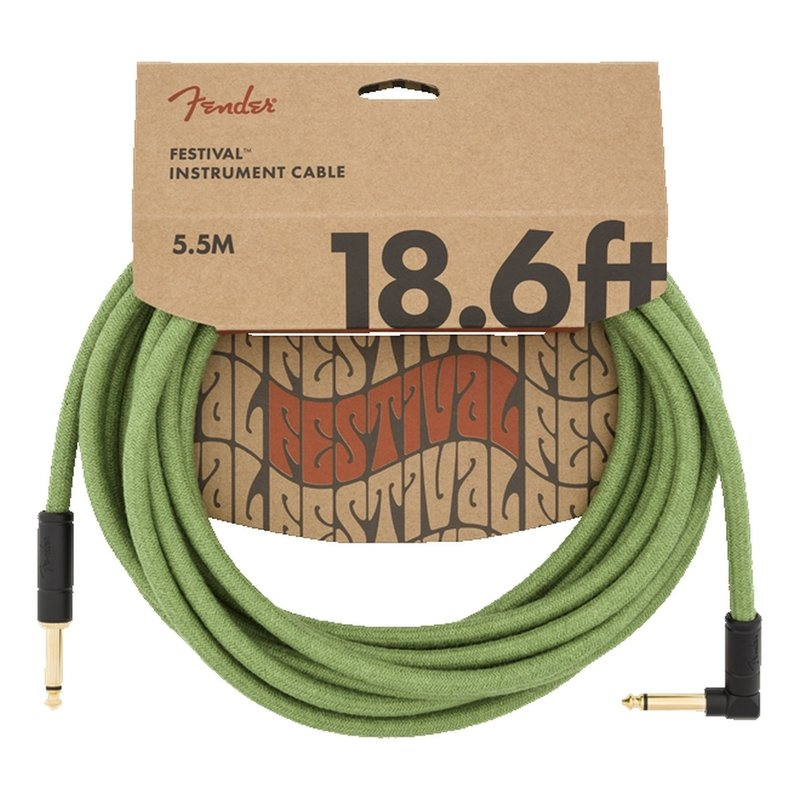 Fender NEW Fender Festival Instrument Cable - Pure Hemp - Green - 18.6'