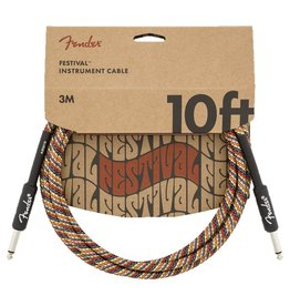 Fender NEW Fender Festival Instrument Cable - Pure Hemp - Rainbow - 10'