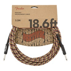 Fender NEW Fender Festival Instrument Cable - Pure Hemp - 18.6' - Straight/Straight - Rainbow