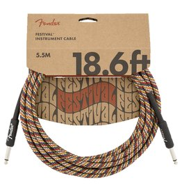 Fender NEW Fender Festival Instrument Cable - Pure Hemp - Rainbow - 18.6'