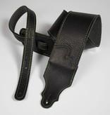"Franklin Straps NEW Franklin 3"" Black Leather Green Stitching Strap"
