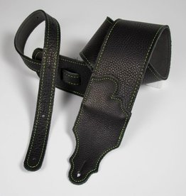 "Franklin Straps NEW Franklin 3"" Black Leather Green Stitching Strap"