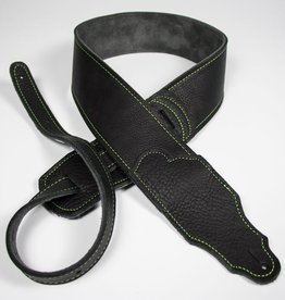 "Franklin Straps NEW Franklin 2.5"" Black Leather/Green Stitching"