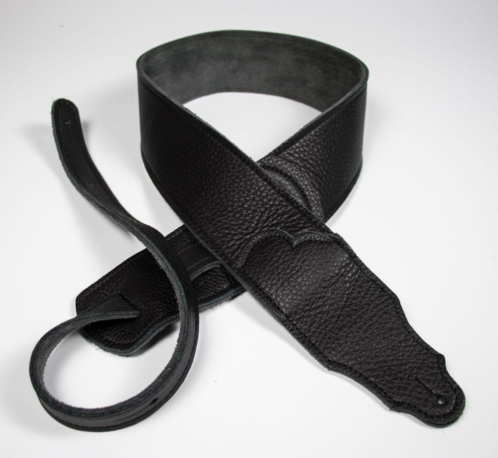 "Franklin Straps NEW Franklin 2.5"" Black Leather/Black Stitching"