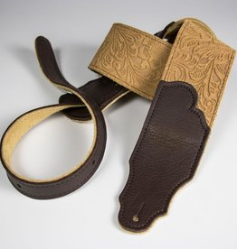 "Franklin Straps NEW Franklin Embossed Suede Strap 2.5"" Honey/Chocolate"
