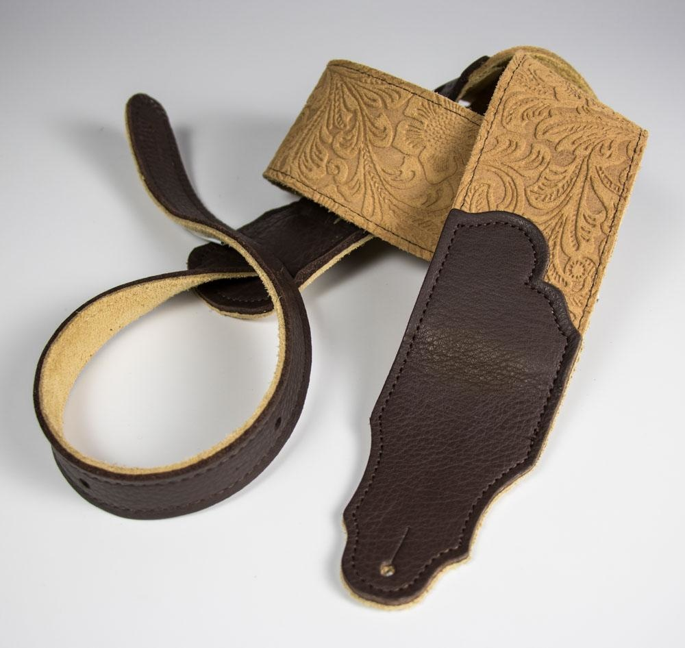 """Franklin Straps NEW Franklin Embossed Suede Strap 2.5"""" Honey/Chocolate"""