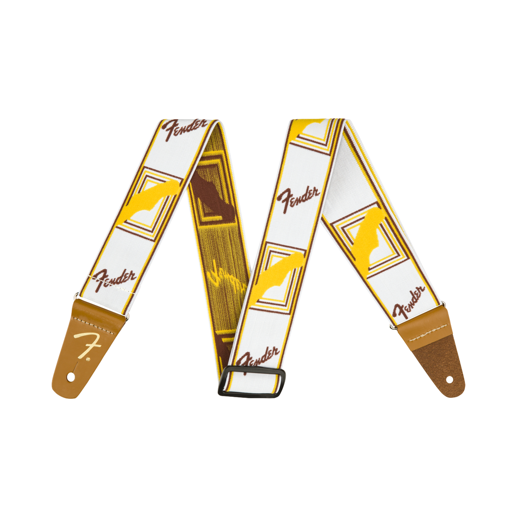 """Fender NEW Fender Weighless 2"""" Monogrammed Strap - White/Brown/Yellow"""