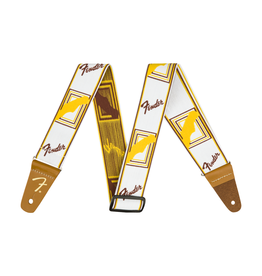 "Fender NEW Fender Weighless 2"" Monogrammed Strap - White/Brown/Yellow"