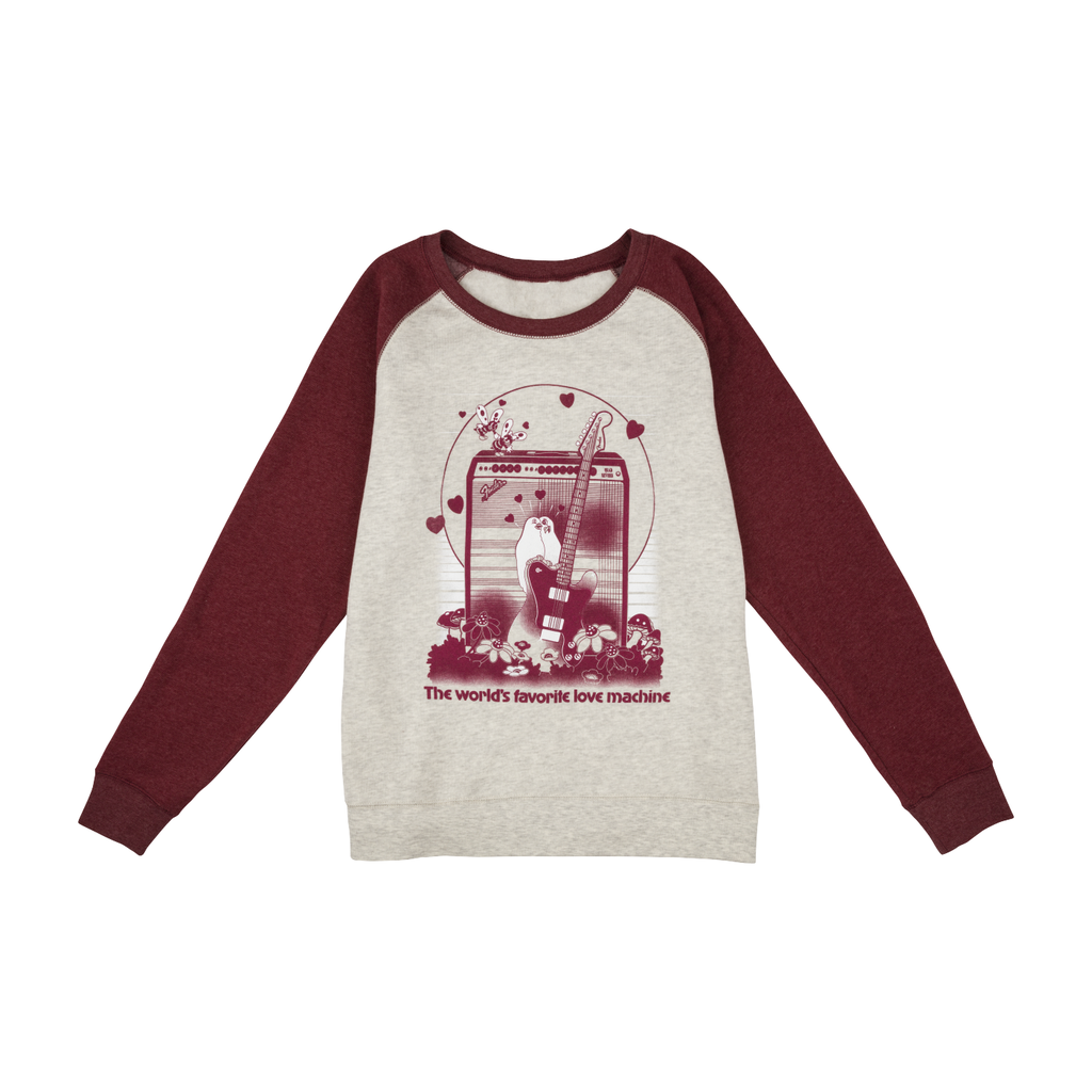 Fender NEW Fender Women's Love Sweatshirt - Oatmeal/Maroon - M