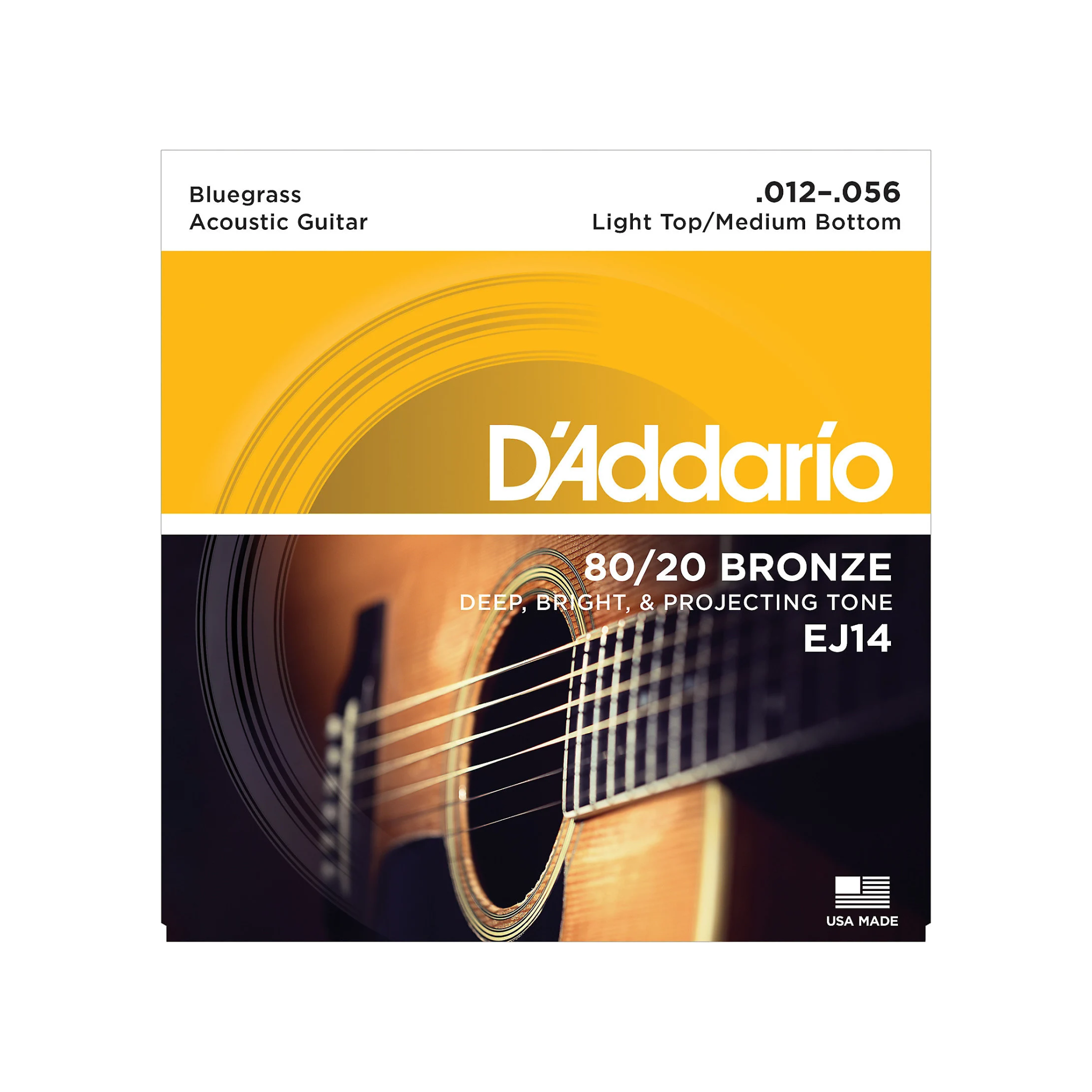 D'Addario NEW D'Addario EJ14 80/20 Acoustic Strings - Light Top Medium Bottom - .012-.056