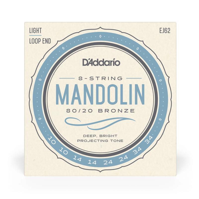 D'Addario NEW D'Addario EJ62 80/20 Bronze Mandolin Strings - Light