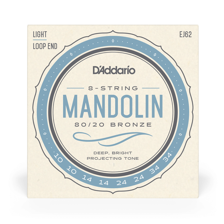 D'Addario NEW D'Addario EJ62 80/20 Bronze Mandolin Strings - Light