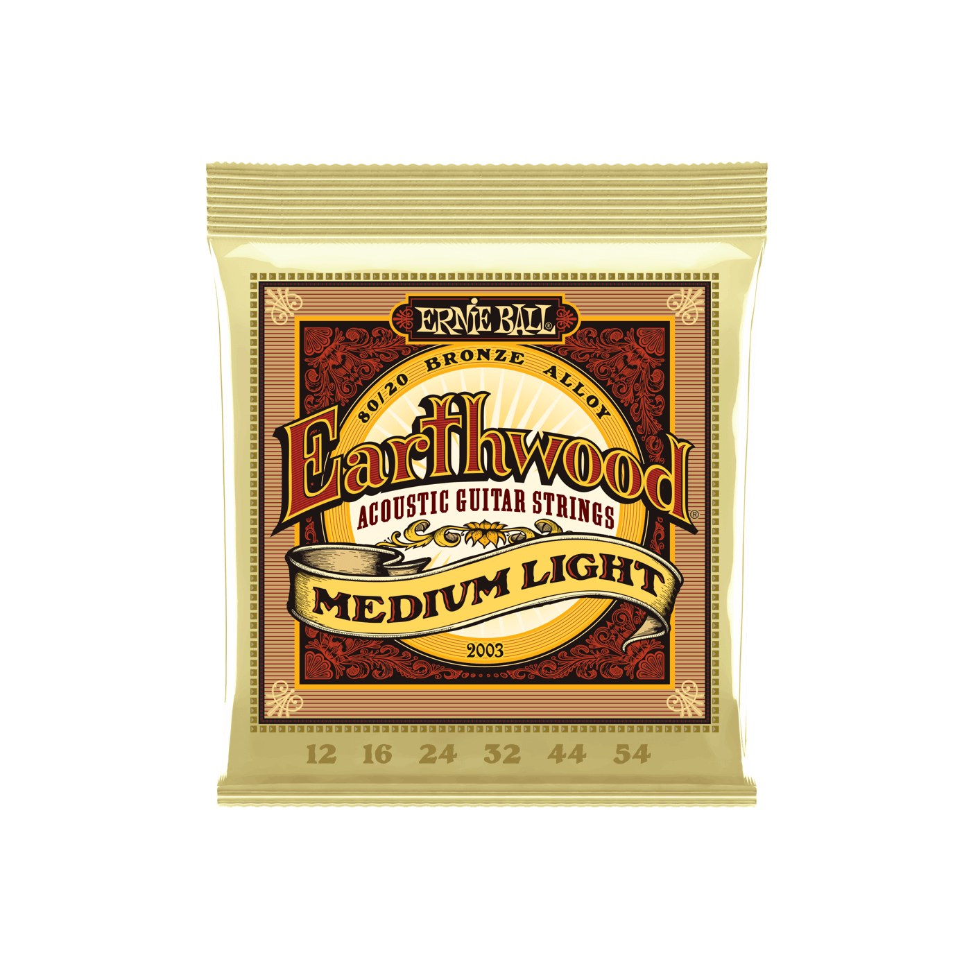 Ernie Ball NEW Ernie Ball Earthwood 80/20 Acoustic Strings - Medium Light - .012-.54