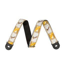 Fender NEW Fender Quick Grip Strap w/ Locking Ends - White/Yellow/Brown Monogrammed