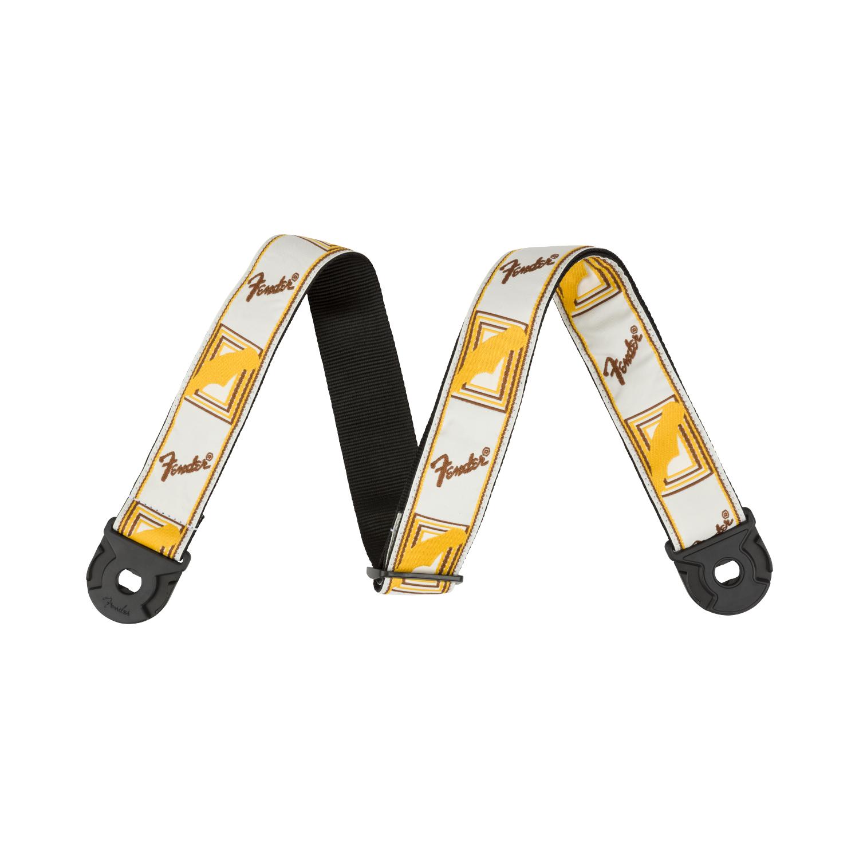 Fender NEW Fender Quick Grip Strap w/ Locking Ends - White/Yellow/Brown Monogrammed