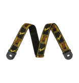 Fender NEW Fender Quick Grip Strap w/ Locking Ends - Black/Yellow/Brown Monogrammed
