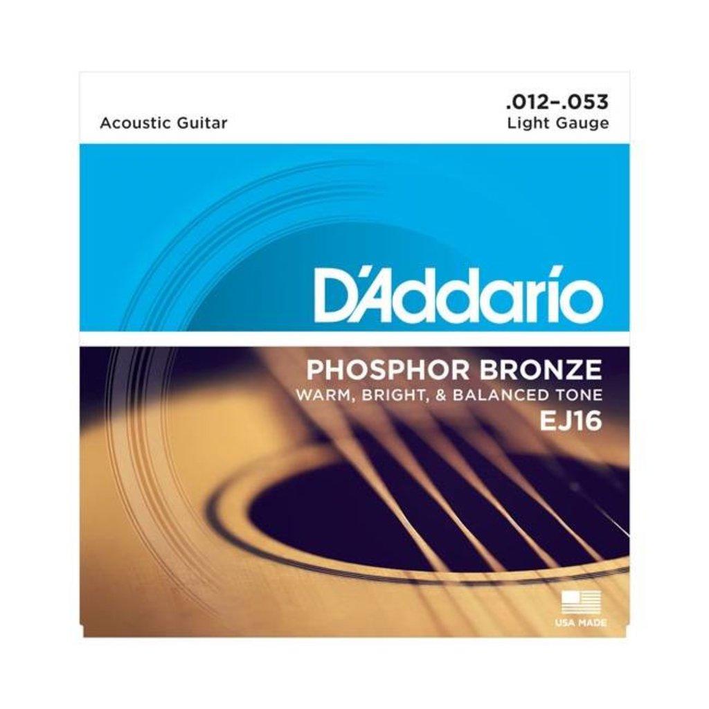 D'Addario NEW D'Addario EJ16 Phosphor Bronze Acoustic Strings - Light - .012-.053