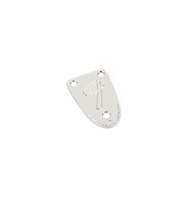 "Fender NEW Fender '70s Vintage-Style 3-Bolt ""F"" Stamped Bass Neck Plate - Chrome"