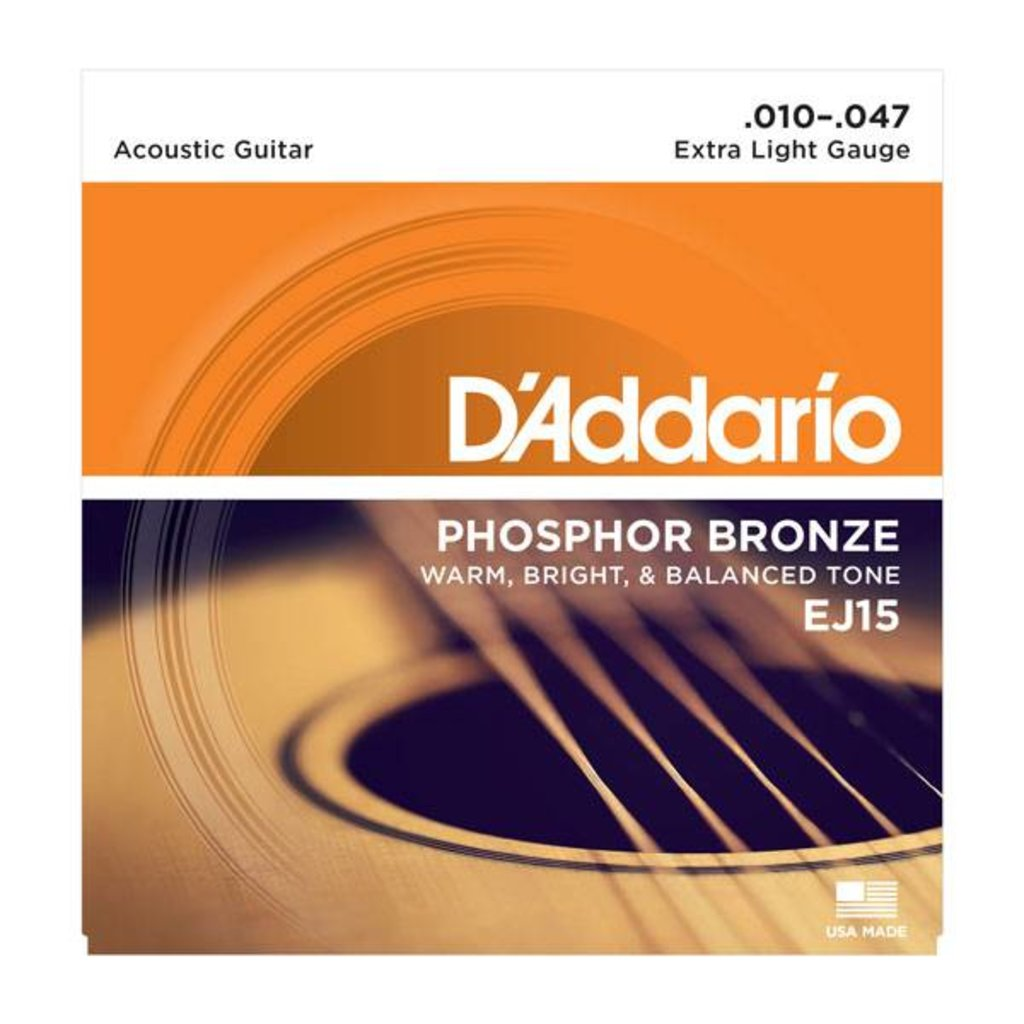 D'Addario NEW D'Addario EJ15 Phosphor Bronze Acoustic Strings - Extra Light - .010-.047
