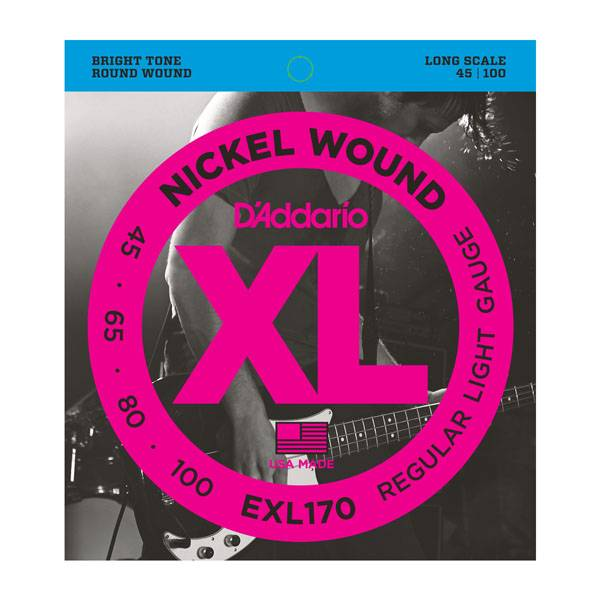 D'Addario NEW D'Addario EXL170 Nickel Wound Bass Strings - Regular Light - .045-.100
