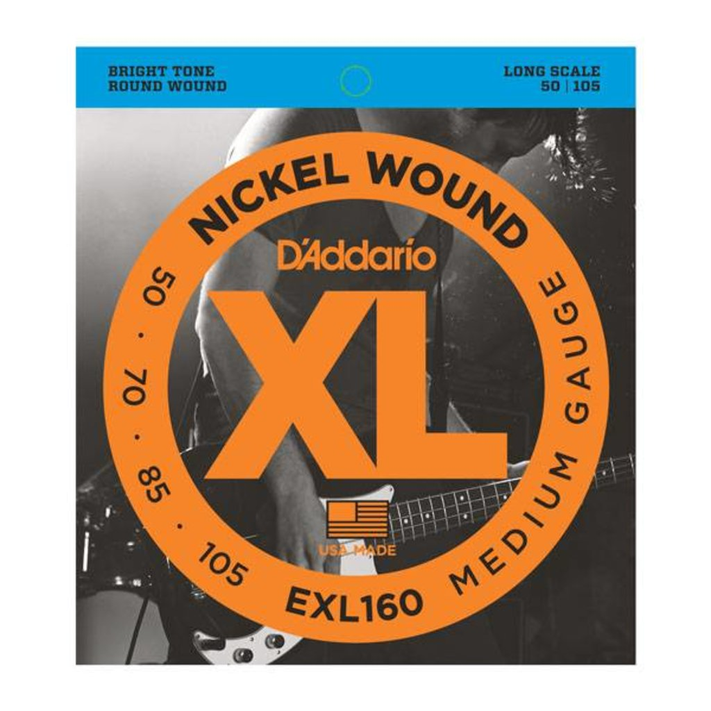 D'Addario NEW D'Addario EXL160 Nickel Wound Bass Strings - Medium - .050-.105
