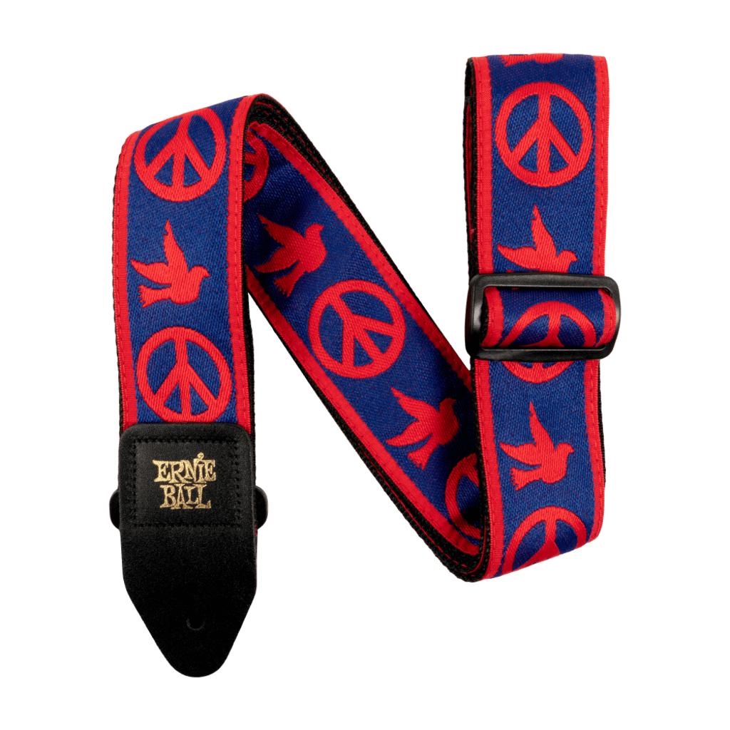 Ernie Ball NEW Ernie Ball Jacquard Guitar Strap - Peace Love Dove Red/Blue