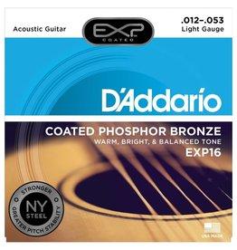 D'Addario NEW D'Addario EXP16 Coated Phosphor Bronze Acoustic Guitar Strings - Light - .012-.053