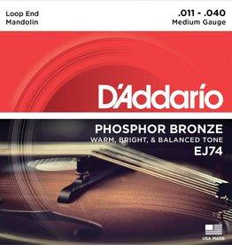 NEW D'Addario EJ74 Phosphor Bronze Mandolin Strings - Medium - .011-.040