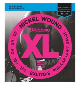 D'Addario NEW D'Addario EXL170-5 Nickel Wound 5-String Bass Strings - Regular Light - .045-.130