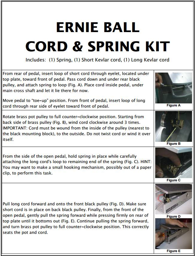 Ernie Ball NEW Ernie Ball 6172 Cord & Spring Kit For VP JR