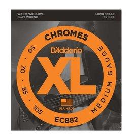 D'Addario NEW D'Addario ECB82 Chromes Flatwound Bass Strings - Medium - .050-.100