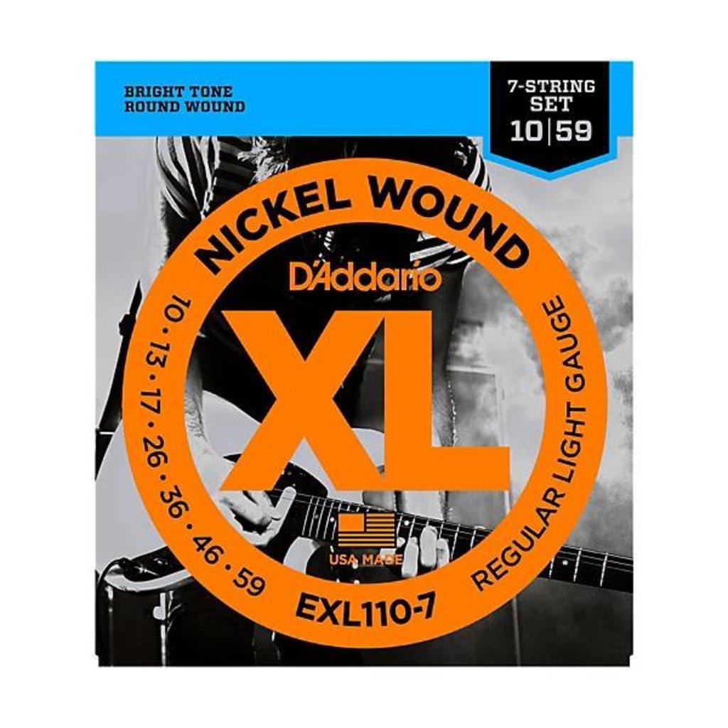 D'Addario NEW D'Addario EXL110-7 Nickel Wound 7-String-Regular Light -.010-.059