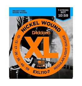 D'Addario NEW D'Addario EXL110-7 Nickel Wound 7-String Electric Strings - Regular Light - .010-.059