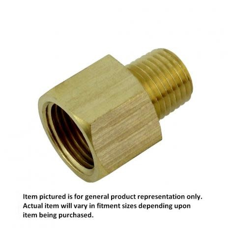 "Foxx Equipment Company Brass Pipe Reducer, 1/4"" FPT x 1/8"" MPT"