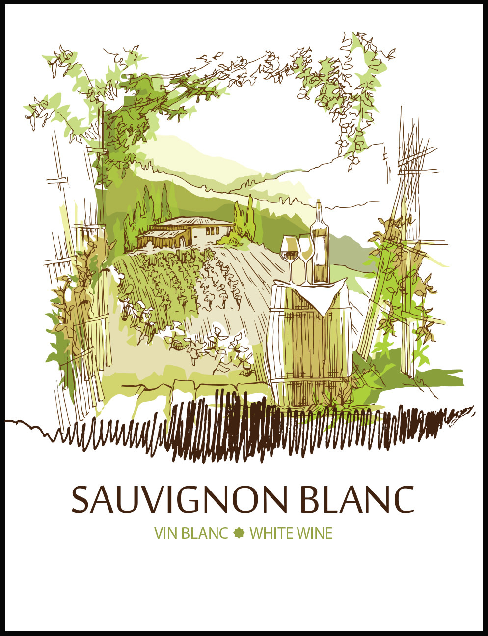 LD Carlson Wine Labels 30 Count (Sauvignon Blanc)