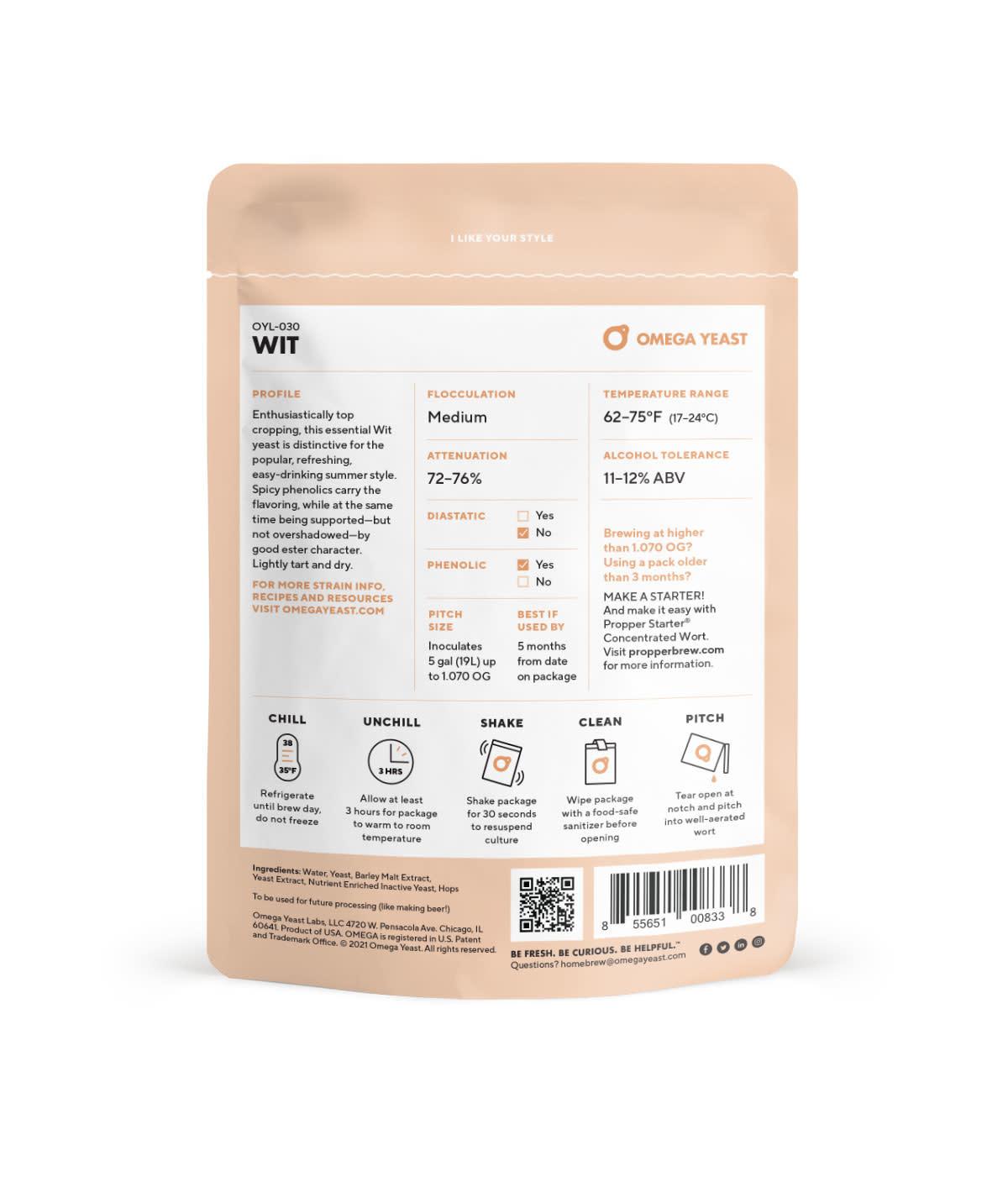 Omega Yeast Labs Omega OYL-030 Wit
