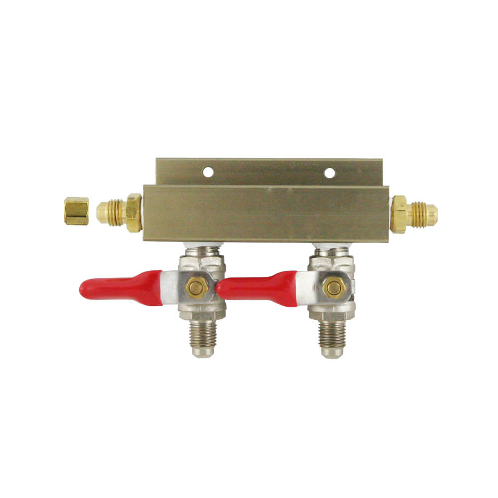 "Foxx Equipment Company Gas Manifold 1/4"" MFL (2-Way)"