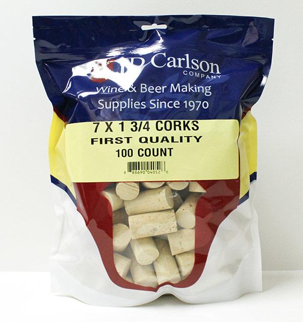 "LD Carlson Wine Corks - Standard (7 mm x 1.75"") 100 Count"
