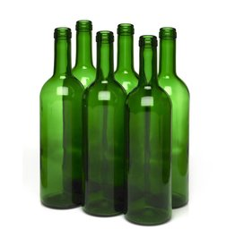 LD Carlson 750 mL Green Bordeaux Flat Bottom 12/Case