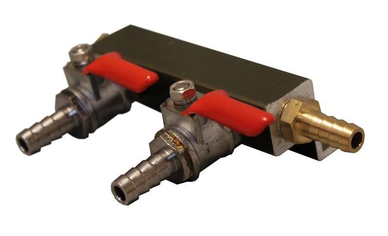 "Coldbreak Brewing Gas Manifold 5/16"" Barbs (2-Way)"