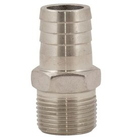 Brewmaster SS Hose Stem - 3/4 in MPT x 3/4 in Barb