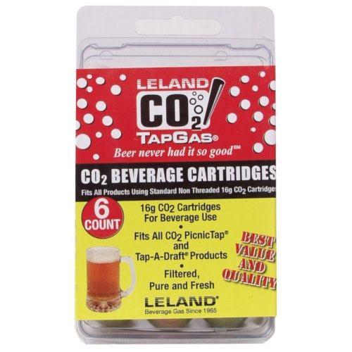 Leland Gas Technologies 16g Unthreaded CO2 Cartridge (6 Pack)